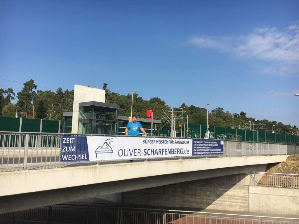 Rangsdorf: Banner zur Bürgermeisterwahl